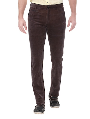 brown cotton corduroy casual trousers - 14543943 - Standard Image - 1
