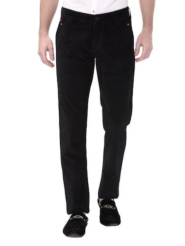 black cotton corduroy casual trousers - 14543991 - Standard Image - 1