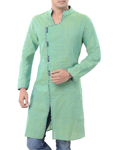 green cotton long  kurta - 14543996 - Standard Image - 1