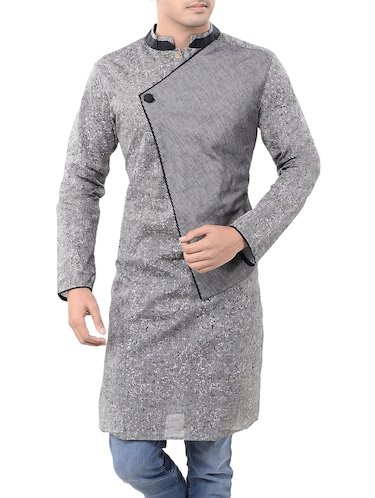 grey cotton long  kurta - 14544000 - Standard Image - 1