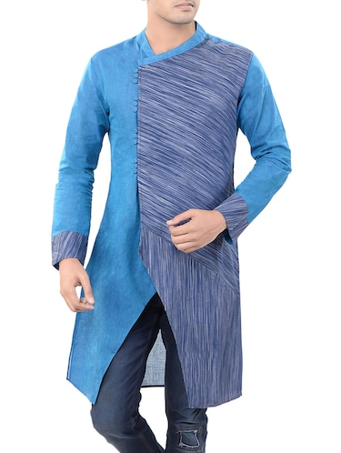 blue cotton long  kurta - 14544001 - Standard Image - 1