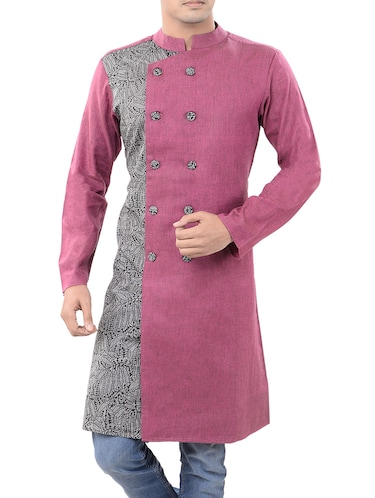 pink cotton long  kurta - 14544005 - Standard Image - 1