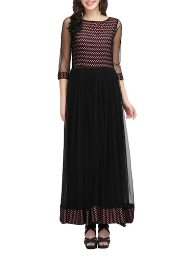 black net printed gown dress - 14544046 - Standard Image - 1