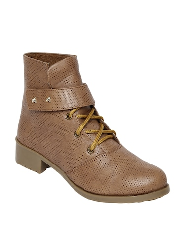 tan  faux leather ankle boot - 14544459 - Standard Image - 1