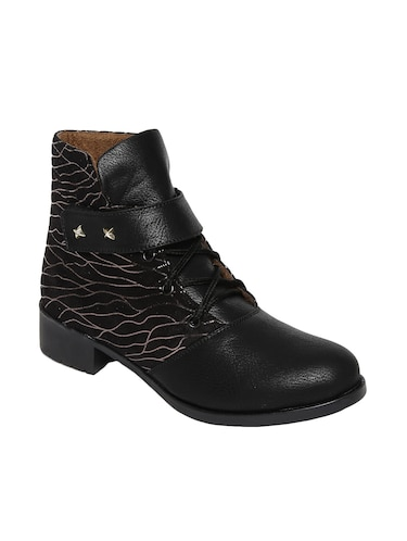 black  faux leather ankle boot - 14544462 - Standard Image - 1