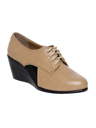 beige faux leather laceup casual shoes - 14544473 - Standard Image - 1