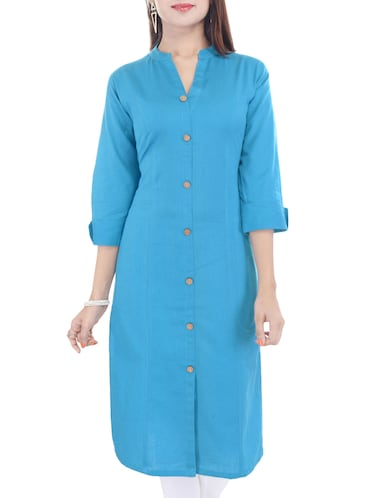 Blue cotton straight kurta - 14544506 - Standard Image - 1