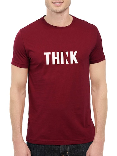 maroon cotton chest print tshirt - 14544625 - Standard Image - 1
