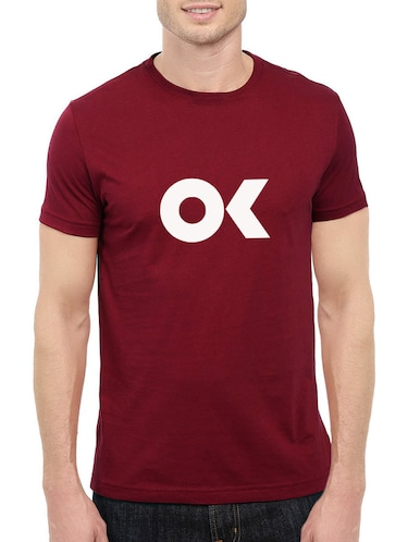 maroon cotton chest print tshirt - 14544655 - Standard Image - 1