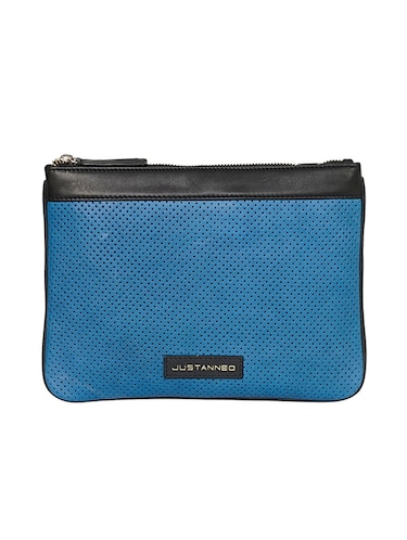 blue leather regular pouch - 14545861 - Standard Image - 1