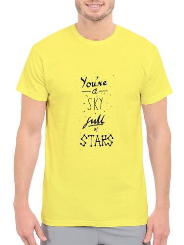 yellow cotton front print t-shirt - 14546357 - Standard Image - 1