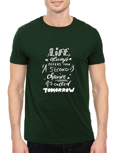 green cotton chest print tshirt - 14546380 - Standard Image - 1