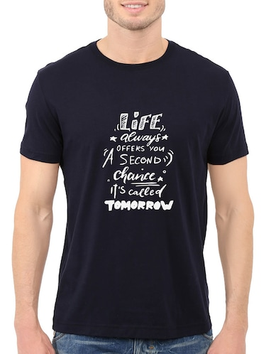 navy blue cotton chest print tshirt - 14546382 - Standard Image - 1