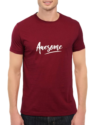 maroon cotton chest print tshirt - 14547416 - Standard Image - 1