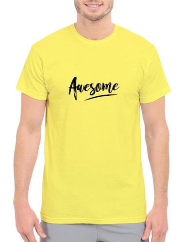 yellow cotton chest print tshirt - 14547422 - Standard Image - 1