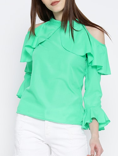 green ruffled top - 14547765 - Standard Image - 1