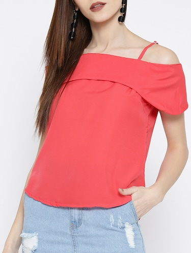 cold shoulder curved hem top - 14547777 - Standard Image - 1