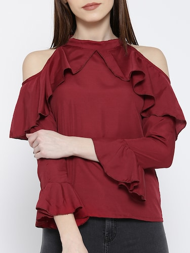 cold shoulder bell sleeved ruffle top - 14547787 - Standard Image - 1