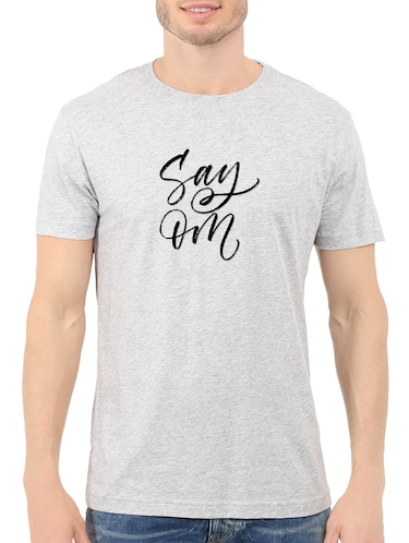 grey cotton chest print tshirt - 14547868 - Standard Image - 1