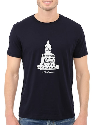navy blue cotton chest print tshirt - 14547872 - Standard Image - 1