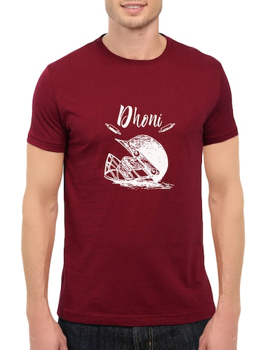 maroon cotton chest print tshirt - 14548084 - Standard Image - 1