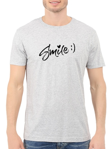 grey cotton chest print tshirt - 14548119 - Standard Image - 1