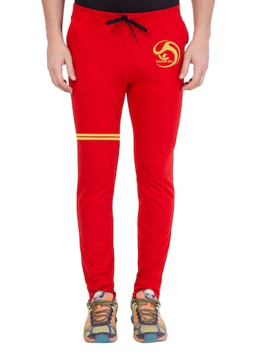 red cotton  full length track pant - 14549632 - Standard Image - 1
