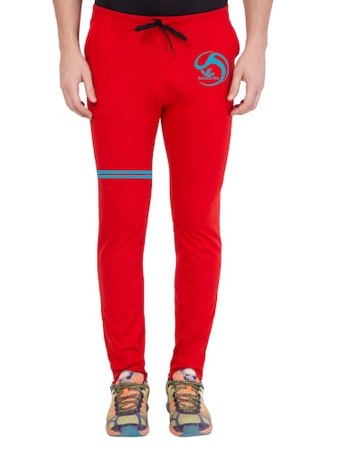 red cotton  full length track pant - 14549634 - Standard Image - 1