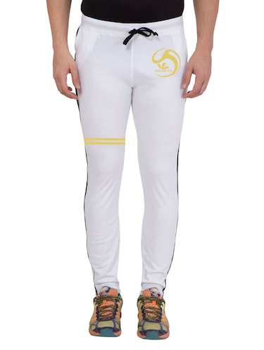 white cotton  full length track pant - 14549639 - Standard Image - 1