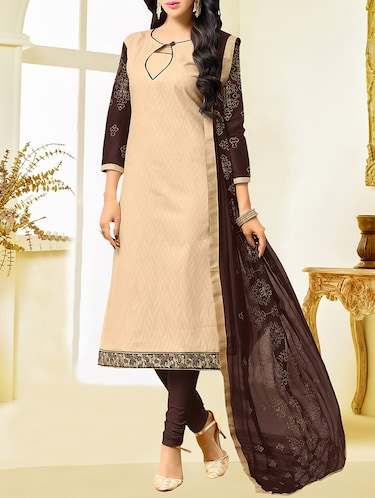beige cotton blend unstitched dress material - 14552814 - Standard Image - 1