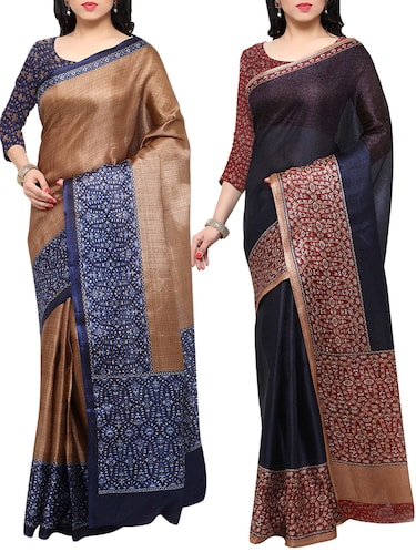 multi colored tussar silk combo saree with blouse - 14553711 - Standard Image - 1