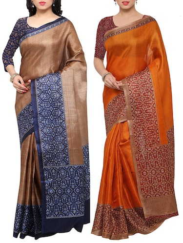 multi colored tussar silk combo saree with blouse - 14553712 - Standard Image - 1
