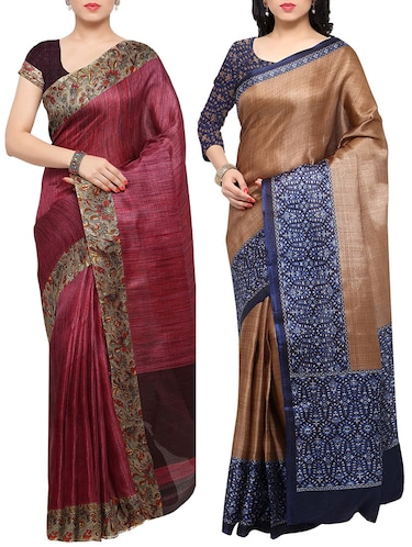 multi colored tussar silk combo saree with blouse - 14553713 - Standard Image - 1