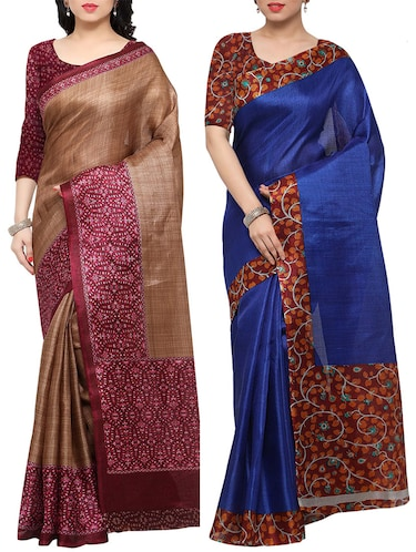 multi colored tussar silk combo saree with blouse - 14553729 - Standard Image - 1