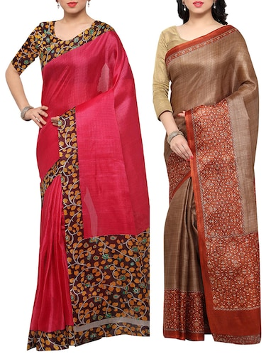 multi colored tussar silk combo saree with blouse - 14553738 - Standard Image - 1