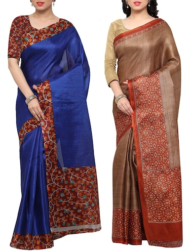 multi colored tussar silk combo saree with blouse - 14553740 - Standard Image - 1