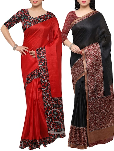 multi colored tussar silk combo saree with blouse - 14553747 - Standard Image - 1