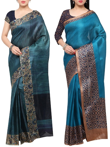 multi colored tussar silk combo saree with blouse - 14553752 - Standard Image - 1