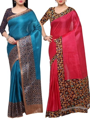 multi colored tussar silk combo saree with blouse - 14553753 - Standard Image - 1