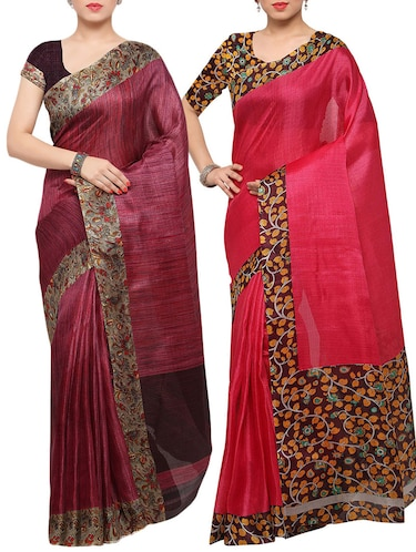 multi colored tussar silk combo saree with blouse - 14553772 - Standard Image - 1