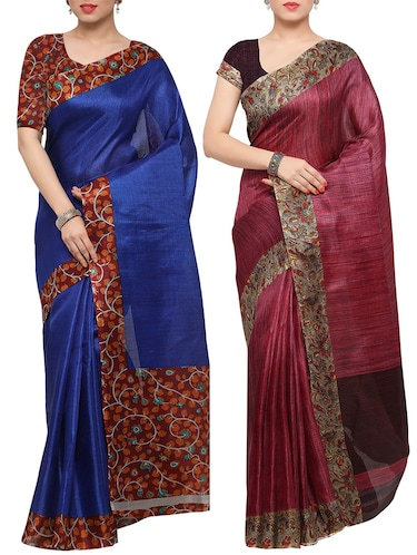 multi colored tussar silk combo saree with blouse - 14553774 - Standard Image - 1
