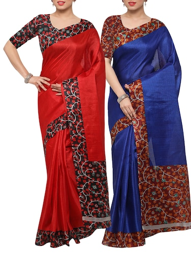 multi colored tussar silk combo saree with blouse - 14553786 - Standard Image - 1