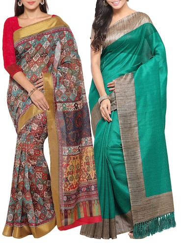 multi colored tussar silk combo saree with blouse - 14553793 - Standard Image - 1