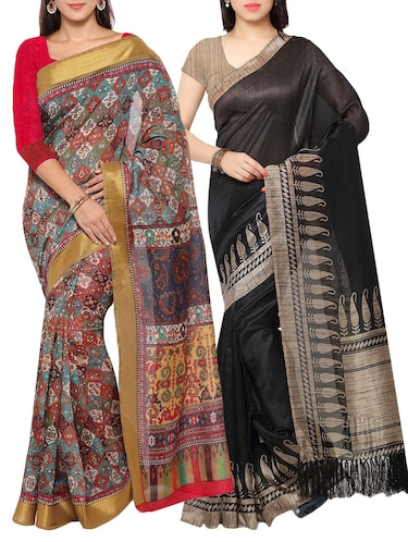 multi colored tussar silk combo saree with blouse - 14553796 - Standard Image - 1