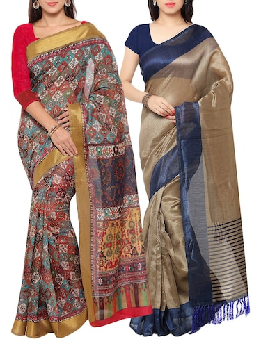 multi colored tussar silk combo saree with blouse - 14553798 - Standard Image - 1