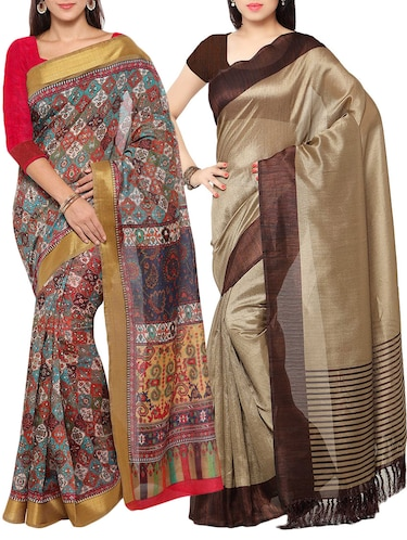 multi colored tussar silk combo saree with blouse - 14553799 - Standard Image - 1