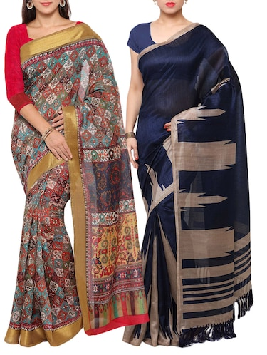 multi colored tussar silk combo saree with blouse - 14553803 - Standard Image - 1