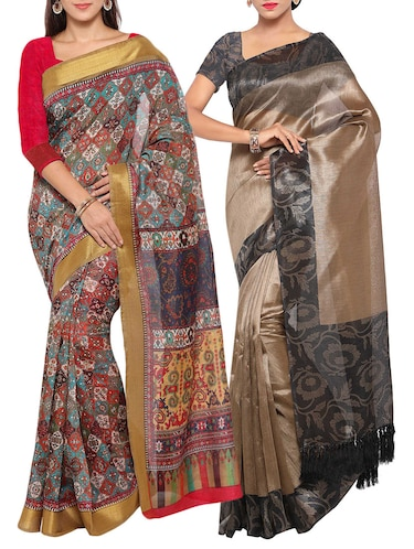 multi colored tussar silk combo saree with blouse - 14553808 - Standard Image - 1