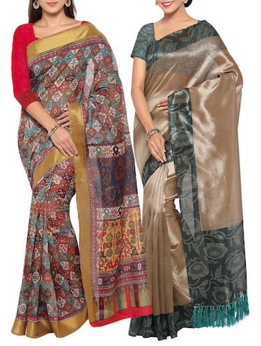 multi colored tussar silk combo saree with blouse - 14553809 - Standard Image - 1