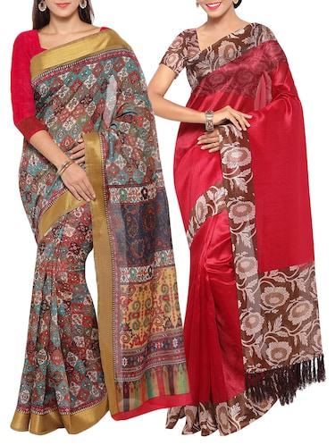 multi colored tussar silk combo saree with blouse - 14553811 - Standard Image - 1